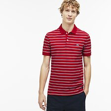 Image of Lacoste RED/WHITE-NAVY BLUE MEN'S STRIPE POLO