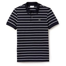Image of Lacoste NAVY BLUE/ABYSSAL BLUE-WH MEN'S COTTON LINEN STRIPE POLO