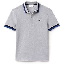 Image of Lacoste SILVER CHINE/NAVY BLUE-EL MEN'S SLIM CONTRAST TRIM POLO