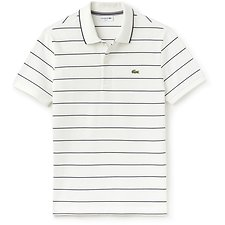 Image of Lacoste FLOUR/NAVY BLUE MEN'S SLIM FITSTRIPE POLO