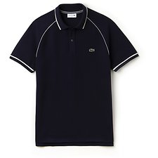 Image of Lacoste NAVY BLUE/FLOUR MEN'S RAGLAN TRIM WAFFLE POLO