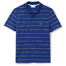 Image of Lacoste ELECTRIC/ABYSSAL BLUE-WHI MEN'S PAINTED STRIPE POLO