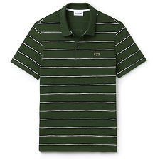 Image of Lacoste GREEN/ABYSSAL BLUE-WHITE MEN'S PAINTED STRIPE POLO