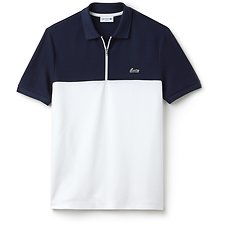 Image of Lacoste NAVY BLUE/WHITE MEN'S SLIM ZIP NECK COL BLOCK POLO