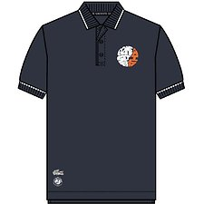 Image of Lacoste NAVY BLUE/WHITE-APRICOT MEN'S ROLAND GARROS CHEST LOGO POLO