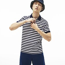 Image of Lacoste NAVY BLUE/WHITE MEN'S SLIM MERCERISED STRIPE POLO