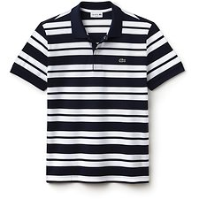 Image of Lacoste WHITE/NAVY BLUE MEN'S SLIM FIT STRIPE POLO