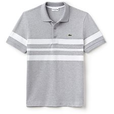 Image of Lacoste SILVER/WHITE MEN'S SLIM FIT TRIPLE STRIPE POLO