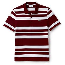 Image of Lacoste TURKEY RED/WHITE MEN'S SLIM FIT STRIPE POLO