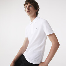 Image of Lacoste WHITE SLIM FIT LACOSTE POLO IN STRETCH PETIT PIQUÉ