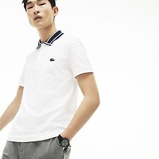 Image of Lacoste WHITE MEN'S SLIM STRETCH COLLAR POLO