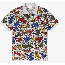 Image of Lacoste SILVER CHINE/MULTICO MEN'S KEITH HARING POLO