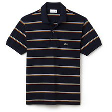 Image of Lacoste NAVY BLUE/MULTICO MEN'S DUAL STRIPE POLO