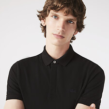 Image of Lacoste BLACK MEN'S PARIS REGULAR FIT STRETCH POLO