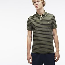 Image of Lacoste ARMY/BLUE PIGMENT CHINE MEN'S REGULAR FIT STRIPE POLO