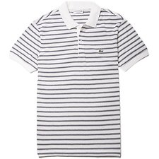 Image of Lacoste FLOUR/BLUE PIGMENT CHINE MEN'S REGULAR FIT STRIPE POLO