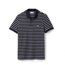 Image of Lacoste BLUE PIGMENT CHINE/FLOUR MEN'S REGULAR FIT STRIPE POLO