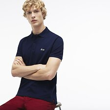 Image of Lacoste NAVY BLUE MEN'S REGULAR FIT LOGO CHEST PRINT POLO
