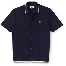 Image of Lacoste NAVY BLUE/FLOUR UNISEX 85TH ANNIVERSARY LIMITED EDITION POLO WITH TIPPING