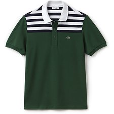 Image of Lacoste GREEN/NAVY BLUE-WHITE UNISEX 85TH ANNIVERSARY LIMITED EDITION COLOUR BLOCK STRIPE POLO