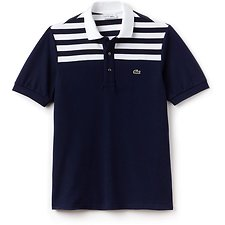 Image of Lacoste NAVY BLUE/WHITE-NAVY BLUE UNISEX 85TH ANNIVERSARY LIMITED EDITION COLOUR BLOCK STRIPE POLO