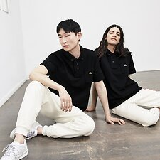 Image of Lacoste MASCARPONE/MULTICO UNISEX LACOSTE LIVE X OPENING CEREMONY REGULAR FIT FLEECE POLO