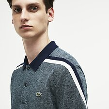 Image of Lacoste ACONIT/FLOUR-NAVY BLUE MEN'S MADE IN FRANCE CRUSHED PIQUE POLO