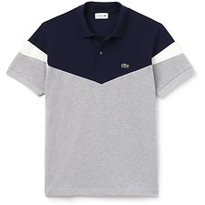 Image of Lacoste PLUVIER CHINE/NAVY BLUE-F MEN'S CLASSIC FIT RETRO COLOUR BLOCK POLO