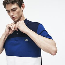 Image of Lacoste STONE CHINE/FLOUR-INKWELL MEN'S REGULAR FIT COLOUR BLOCK POLO