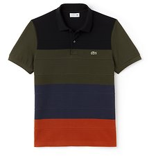 Image of Lacoste NEVADA ORANGE/MERIDIAN BL MEN'S REGULAR FIT COLOUR BLOCK POLO