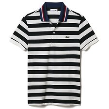 Image of Lacoste SINOPLE/NAVY BLUE-FLOUR MEN'S STRIPE POLO WITH CONTRAST COLLAR