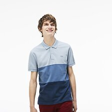Image of Lacoste NORDIC BLUE/MULTICO MEN'S COLOUR BLOCK PIQUE POLO