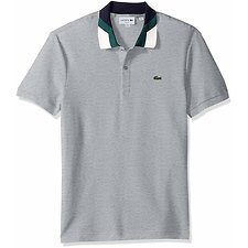 Image of Lacoste PLUVIER CHINE MEN'S SLIM FIT CONTRAST COLLAR POLO