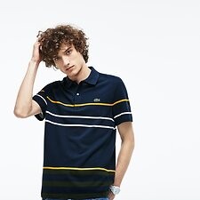 Image of Lacoste MERIDIAN BLUE/BAOBAB-POME MEN'S MULTI THICK STRIPE POLO