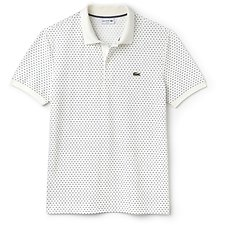 Image of Lacoste FLOUR/NAVY BLUE MEN'S SLIM FIT ALL OVER PRINT POLO