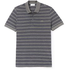 Image of Lacoste STONE CHINE/MERIDIAN BLUE MEN'S REGULAR FIT STRIPE COTTON POLO