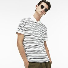 Image of Lacoste FLOUR/STONE CHINE MEN'S REGULAR FIT STRIPE COTTON POLO