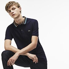 Image of Lacoste NAVY BLUE MEN'S SLIM FIT STRIPE COLLAR POLO