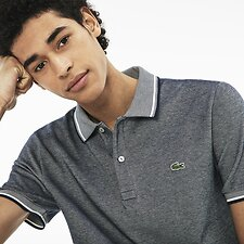 Image of Lacoste NAVY BLUE/FLOUR MEN'S SLIM FIT BIRDSEYE POLO