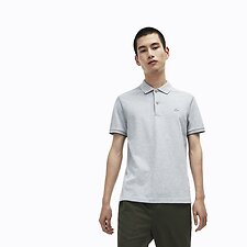Image of Lacoste PLUVIER CHINE/NAVY BLUE-P MEN'S MARLE POLO WITH RUBBER CROCODILE