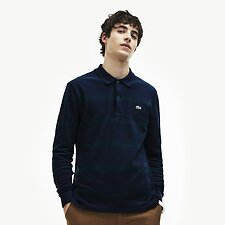 Image of Lacoste MERIDIAN BLUE/ACONIT MEN'S LONG SLEEVE STRIPE POLO