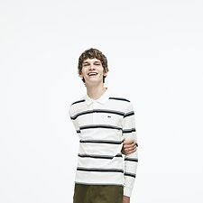 Image of Lacoste FLOUR/MERIDIAN BLUE MEN'S LONG SLEEVE STRIPE POLO
