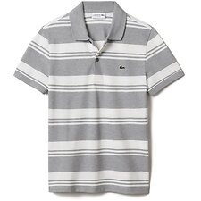 Image of Lacoste PLUVIER CHINE/FLOUR MEN'S SLIM STRETCH STRIPE POLO