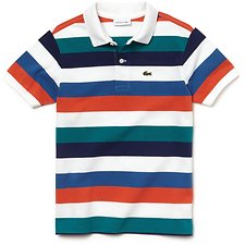 Image of Lacoste WHITE/MARITIME-UNDERGROWT KIDS' MULTI COLOUR STRIPE POLO