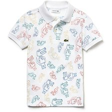 Image of Lacoste WHITE/MULTICO KIDS' ALL OVER PRINTED POLO