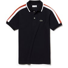 Image of Lacoste NAVY BLUE/WHITE-WATERMELO KIDS' RETRO POLO WITH COLLAR TRIM