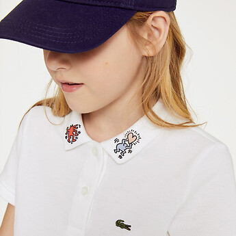 Image of Lacoste  KIDS' KEITH HARING EMBROIDED COLLAR DETA