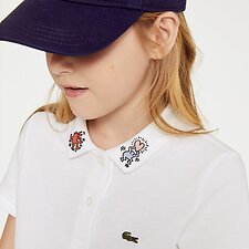 Image of Lacoste WHITE KIDS' KEITH HARING EMBROIDED COLLAR DETA
