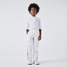 Image of Lacoste WHITE KIDS' LONG SLEEVE BASIC POLO