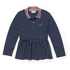 Image of Lacoste MATELOT CHINE/WHITE-MELIT KIDS' LONG SLEEVE STRIPE POLO